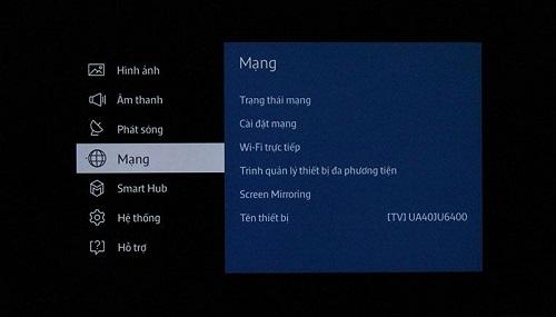 cách kiết nối mạng Smart TV Samsung