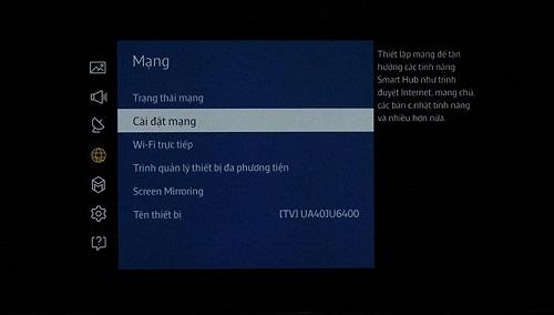 các bước kiết nối mạng Smart TV Samsung