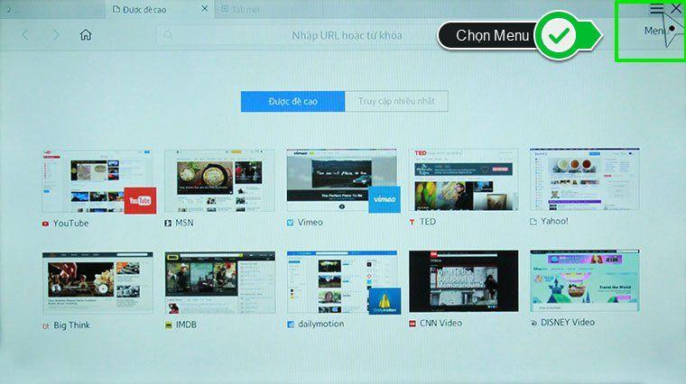 xóa lịch sử trình duyệt web tivi thong minh Samsung - menu