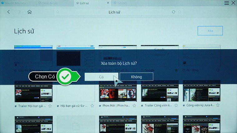 xóa lịch sử trình duyệt web tivi thong minh Samsung - chọn xóa tất cả